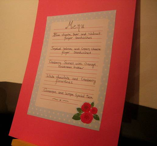 Our Vintage Rose tea party menu