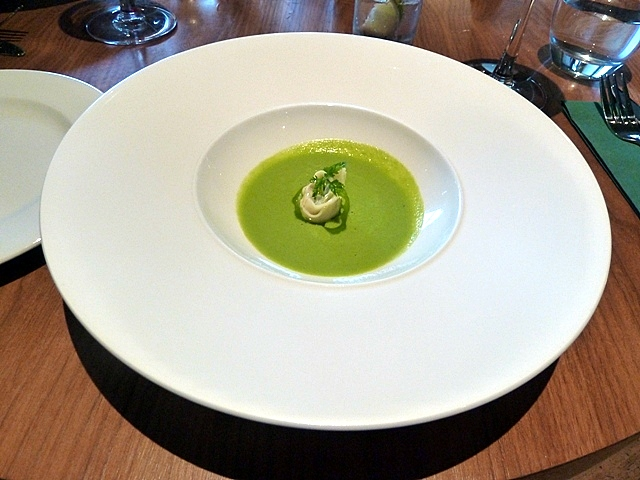 Pea veloute, truffled pea tortellini with mint