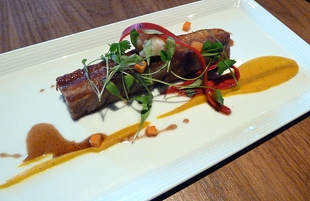 Pork belly with langoustine, carrot and star anise