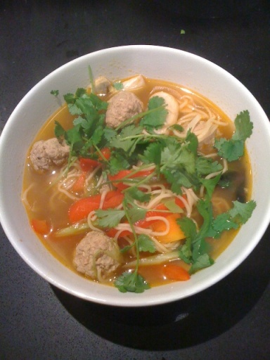Asian style noodle soup with turkey meatballs